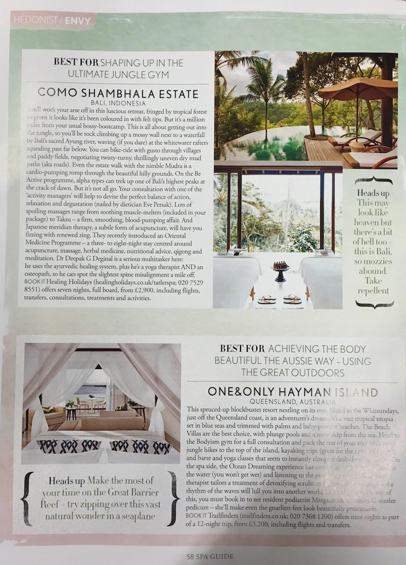 Eve Persak Press - Tatler Spa Guide 2015
